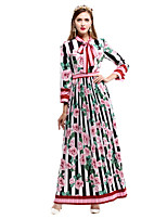 Fodero Swing Vestito Da donna-Casual Fantasia floreale Girocollo Maxi Manica lunga Cotone Autunno A vita medio-alta Media elasticitàMedio