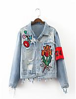 Feminino Jaqueta jeans Para Noite Casual Simples Outono Inverno,Estampado Estampa Colorida Padrão Algodão Outros Colarinho de CamisaManga