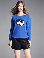 Damen Druck Einfach Lässig/Alltäglich T-shirt,Rundhalsausschnitt Herbst Langarm Baumwolle Elasthan Dick
