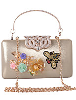Women Bags All Seasons leatherette Evening Bag with Rhinestone Satin Flower Pearl Detailing Floral Chain for Wedding Event/Party Formal