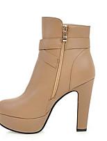 Для женщин Обувь Полиуретан Осень Зима Удобная обувь Обувь на каблуках Назначение Повседневные Белый Миндальный