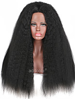 Synthetic Lace Front Wig Kinky Straight Black Color Synthetic Wigs Kinky Straight Hair Wig