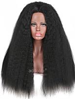 Perruque avant en dentelle synthétique kinky perruques synthétiques droites en couleur noire perruque de cheveux droit kinky