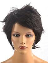 Парики из искусственных волос Без шапочки-основы Короткий Прямые Естественные прямые Черный Парик из натуральных волос Карнавальные парики
