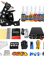 Professional Complete Tattoo Kit 1 Top Tattoo Machine 7 Ink 20 Needle Power Supply TK105-39