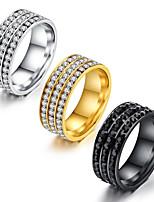 Муж. Классические кольца Цирконий Базовый дизайн Мода Винтаж Хип-хоп Готика Классика Титановая сталь Круглый Бижутерия Назначение Для