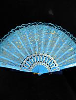 Double Layer Lace Blue Hand Fan   1 Piece/Set   Hand Fans Wedding Laces