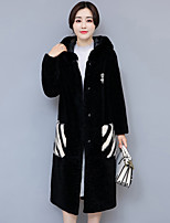 Women's Going out Street chic Winter Fur Coat,Solid Color Block Hooded Long Sleeve Long Cashmere Polyester