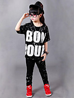 Jazz Outfits Kid's Performance Polyester Paillettes 2 Pieces Short Sleeve Natural Tops Pants