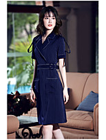 AGD  Women's Going out Cute Sheath DressSolid Shirt Collar Knee-length Short Sleeve Polyester Summer Mid Rise Micro-elastic Medium