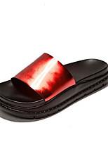 Для женщин Обувь Полиуретан Лето Удобная обувь Тапочки и Шлепанцы Назначение Повседневные Красный