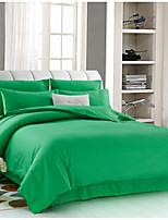 Solid 4 Piece Cotton Cotton 4pcs (1 Duvet Cover, 1 Flat Sheet, 2 Shams)