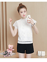 Women's Going out Casual/Daily Cute Summer Shirt,Solid Stand Short Sleeve Others