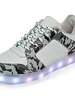 Garçon Baskets Confort Chaussures Lumineuses PU de microfibre synthétique Automne Hiver Décontracté Lacet Talon Plat Blanc Noir Vert Plat