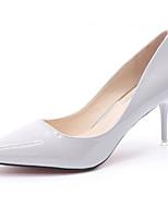 Для женщин Обувь на каблуках Босоножки Полиуретан Лето Повседневные Комбинация материалов На шпильке Белый Черный Красный Розовый2,5 -