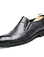 Men's Oxfords Formal Shoes Comfort Real Leather PU Leather Spring Fall Office & Career Party & Evening Flat Heel Black Flat