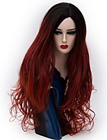 Women Synthetic Wig Capless Long Natural Wave Dark Red Ombre Hair Natural Wig Party Wig Halloween Wig Carnival Wig Costume Wigs