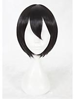 Парики из искусственных волос Без шапочки-основы Короткий Прямые Черный Парики для косплей Карнавальные парики