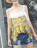 Women's Going out Casual/Daily Sexy Cute Summer Fall Blouse,Floral Strap Sleeveless Polyester Medium
