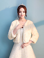 Women's Wrap Shrugs Faux Fur Ice Silk Wedding Party/ Evening Full Length Visible Zipper