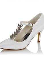 Femme Chaussures à Talons Escarpin Basique Satin Automne Hiver Mariage Habillé Soirée & Evénement Chaîne Talon Aiguille Blanc 7,5 à 9,5 cm