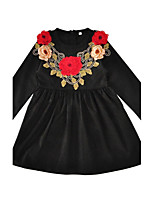 2017 New Fashion Girl's Floral Dress Cotton Spring Fall Long Sleeve Black Dress with Flower Kids Girls Dress