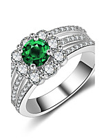Women's Ring Emerald AAA Cubic Zirconia Fashion Vintage Elegant  Silver  Ring Jewelry For Wedding Anniversary Party/Evening