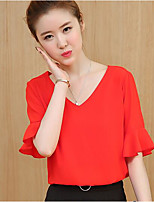 Women's Casual/Daily Simple Blouse,Solid V Neck Half Sleeve Polyester