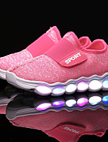 Girls' Athletic Shoes Light Up Shoes Spring Fall Tulle Athletic Casual Outdoor Magic Tape Flat Heel Ruby Green Blushing Pink Light Blue