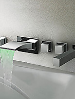 Contemporary Modern Style LED Wall Mounted Waterfall Handshower Included with  Three Handles Five Holes for  Chrome  Bathtub Faucet