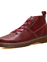 Men's Boots Novelty Fall PU Casual Outdoor Black Burgundy Flat