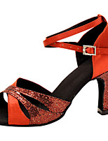 Women's Latin Silk Sandals Performance Criss-Cross Stiletto Heel Ruby 3