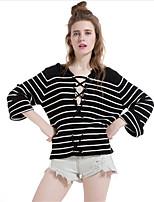 Для женщин На каждый день Простое Короткий Пуловер Полоски,V-образный вырез Длинный рукав Хлопок Полиэстер Осень Зима Средняя