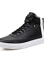 Men's Sneakers Comfort Spring Fall Real Leather Leather PU Casual Chain Lace-up Flat Heel White Black Flat