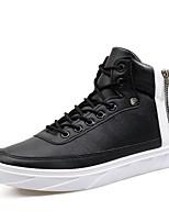 Для мужчин Кеды Удобная обувь Натуральная кожа Кожа Полиуретан Весна Осень Повседневные Цепочки Шнуровка На плоской подошве Белый Черный