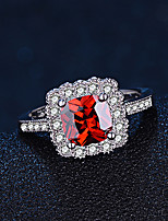 Women's Ring  Fashion Elegant Ruby Silver Cubic Zirconia Ring Jewelry ForWedding Anniversary Party/Evening Engagement Daily