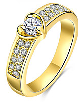 Men's Women's Band Rings Cubic Zirconia Basic Love Sexy Fashion Personalized Cute Style Luxury Classic Elegant Alloy Heart Jewelry For