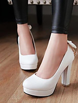 Women's Shoes PU Spring Comfort Heels Chunky Heel For Casual White Beige Blushing Pink