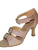 Для женщин Латина Лак Сандалии Концертная обувь С пряжкой Кубинский каблук Черный Миндальный 5 - 6,8 см 7,5 - 9,5 см Персонализируемая
