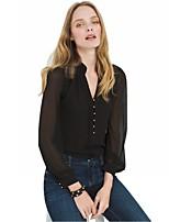 Для женщин На каждый день Весна Лето Блуза V-образный вырез,Простое Однотонный Длинный рукав,Полиэстер,Тонкая