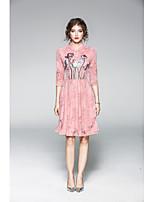 Для женщин На каждый день Оболочка Платье Однотонный Вышивка,V-образный вырез До колена Рукав 3/4 Полиэстер Лето Со стандартной талией
