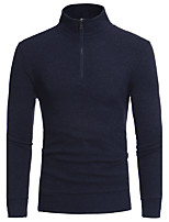 Men's Casual/Daily Simple Regular Pullover,Solid Stand Long Sleeves Cotton Polyester Fall Winter Medium Micro-elastic