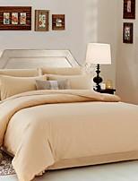 Solid 4 Piece Cotton Cotton 1pc Duvet Cover 2pcs Shams 1pc Flat Sheet