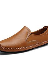 Для мужчин Мокасины и Свитер Удобная обувь Весна Осень Наппа Leather Повседневные Для вечеринки / ужина На плоской подошве Черный