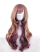 Synthetic Natural Wigs Lolita Ombre Brown/Purple Long Curly Bangs Wigs for Women Costume Wigs Cosplay Capless Wigs