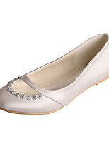 Women's Wedding Shoes Comfort Stretch Satin Spring Fall Wedding Party & Evening Crystal Flat Heel Ivory Dark Purple Silver White Flat