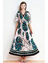 Для женщин На каждый день С летящей юбкой Платье Полоски С принтом,V-образный вырез Макси Рукав до локтя Полиэстер ЛетоСо стандартной