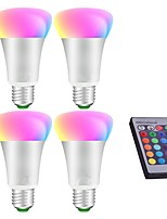 4pcs 10W LED Globe Bulbs RGB Remote-Controlled Decorative Dimmable RGB E27 LED Bulb Light Stage Lamp AC85-265V