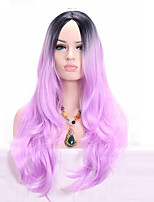 Long Wavy Colocasia color Wig Synthetic Ombre Black to Light Purple Synthetic Wigs for Black Women