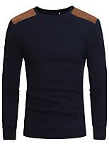 Для мужчин Спорт На каждый день Офис Простое Активный Шинуазери (китайский стиль) Обычный Пуловер Однотонный,Круглый вырез Длинный рукав